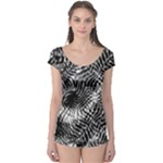 Tropical leafs pattern, black and white jungle theme Boyleg Leotard