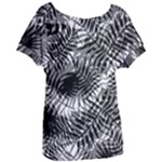 Tropical leafs pattern, black and white jungle theme Women s Oversized Tee