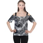 Tropical leafs pattern, black and white jungle theme Cutout Shoulder Tee