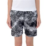 Tropical leafs pattern, black and white jungle theme Women s Basketball Shorts