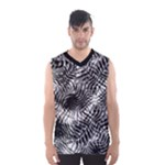 Tropical leafs pattern, black and white jungle theme Men s Basketball Tank Top