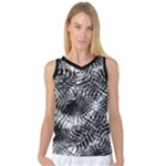 Tropical leafs pattern, black and white jungle theme Women s Basketball Tank Top