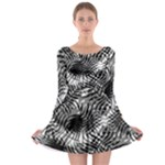 Tropical leafs pattern, black and white jungle theme Long Sleeve Skater Dress