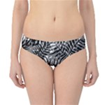 Tropical leafs pattern, black and white jungle theme Hipster Bikini Bottoms