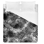 Tropical leafs pattern, black and white jungle theme Duvet Cover (Queen Size)