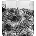 Tropical leafs pattern, black and white jungle theme Duvet Cover Double Side (King Size)
