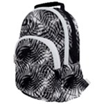 Tropical leafs pattern, black and white jungle theme Rounded Multi Pocket Backpack