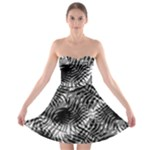 Tropical leafs pattern, black and white jungle theme Strapless Bra Top Dress