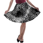 Tropical leafs pattern, black and white jungle theme A-line Skater Skirt