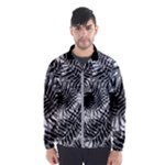 Tropical leafs pattern, black and white jungle theme Men s Windbreaker