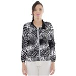 Tropical leafs pattern, black and white jungle theme Women s Windbreaker