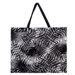 Tropical leafs pattern, black and white jungle theme Zipper Large Tote Bag