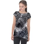 Tropical leafs pattern, black and white jungle theme Cap Sleeve High Low Top