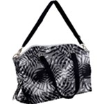 Tropical leafs pattern, black and white jungle theme Canvas Crossbody Bag