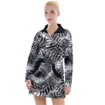 Tropical leafs pattern, black and white jungle theme Women s Long Sleeve Casual Dress