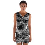 Tropical leafs pattern, black and white jungle theme Wrap Front Bodycon Dress