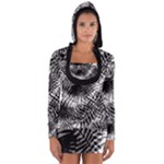 Tropical leafs pattern, black and white jungle theme Long Sleeve Hooded T-shirt