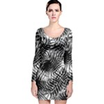 Tropical leafs pattern, black and white jungle theme Long Sleeve Velvet Bodycon Dress