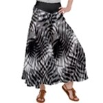Tropical leafs pattern, black and white jungle theme Satin Palazzo Pants