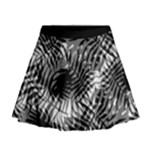 Tropical leafs pattern, black and white jungle theme Mini Flare Skirt