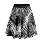 Tropical leafs pattern, black and white jungle theme High Waist Skirt