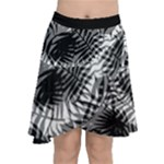 Tropical leafs pattern, black and white jungle theme Chiffon Wrap Front Skirt