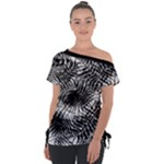 Tropical leafs pattern, black and white jungle theme Tie-Up Tee