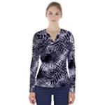 Tropical leafs pattern, black and white jungle theme V-Neck Long Sleeve Top