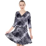 Tropical leafs pattern, black and white jungle theme Quarter Sleeve Front Wrap Dress