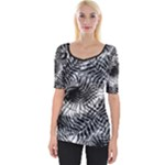 Tropical leafs pattern, black and white jungle theme Wide Neckline Tee