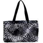 Tropical leafs pattern, black and white jungle theme Canvas Work Bag