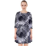 Tropical leafs pattern, black and white jungle theme Smock Dress