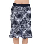 Tropical leafs pattern, black and white jungle theme Short Mermaid Skirt