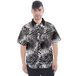 Tropical leafs pattern, black and white jungle theme Men s Short Sleeve Shirt