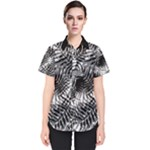 Tropical leafs pattern, black and white jungle theme Women s Short Sleeve Shirt