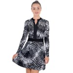 Tropical leafs pattern, black and white jungle theme Long Sleeve Panel Dress