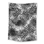 Tropical leafs pattern, black and white jungle theme Medium Tapestry