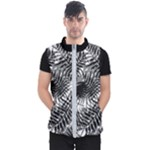 Tropical leafs pattern, black and white jungle theme Men s Puffer Vest