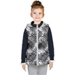 Tropical leafs pattern, black and white jungle theme Kids  Hooded Puffer Vest