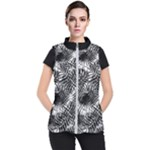 Tropical leafs pattern, black and white jungle theme Women s Puffer Vest