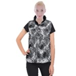 Tropical leafs pattern, black and white jungle theme Women s Button Up Vest