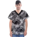 Tropical leafs pattern, black and white jungle theme Men s V-Neck Scrub Top