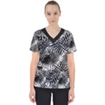 Tropical leafs pattern, black and white jungle theme Women s V-Neck Scrub Top