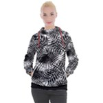 Tropical leafs pattern, black and white jungle theme Women s Hooded Pullover