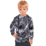 Tropical leafs pattern, black and white jungle theme Kids  Hooded Pullover