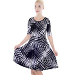 Tropical leafs pattern, black and white jungle theme Quarter Sleeve A-Line Dress