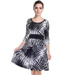 Tropical leafs pattern, black and white jungle theme Quarter Sleeve Waist Band Dress
