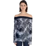 Tropical leafs pattern, black and white jungle theme Off Shoulder Long Sleeve Top
