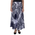 Tropical leafs pattern, black and white jungle theme Flared Maxi Skirt