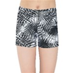 Tropical leafs pattern, black and white jungle theme Kids  Sports Shorts